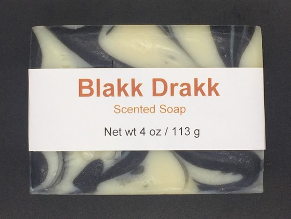 Blakk Drakk Scented Cold Process Soap with Shea Butter for Men, 4 oz / 113 g bar