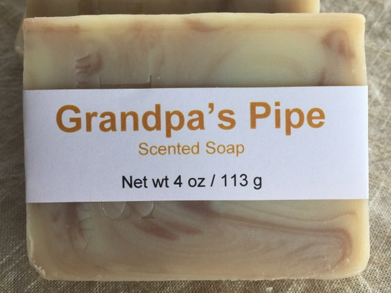 Grandpa's Pipe Scented Cold Process Soap with Shea Butter, 4 oz / 113 g bar