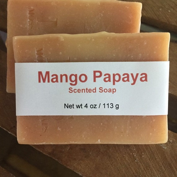 Mango Papaya Scented Cold Process Soap with Shea Butter, 4 oz / 113 g bar