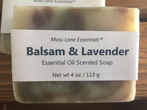 DISCOUNTED--Balsam Fir and Lavender Essential Oil Scented Cold Process Soap with Shea Butter, 4 oz / 113 g bar--Slightly Imperfect