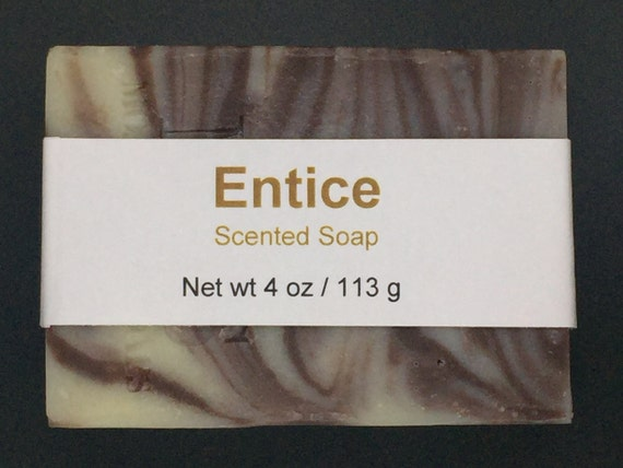Entice Scented Cold Process Soap with Shea Butter for Men, 4 oz / 113 g bar