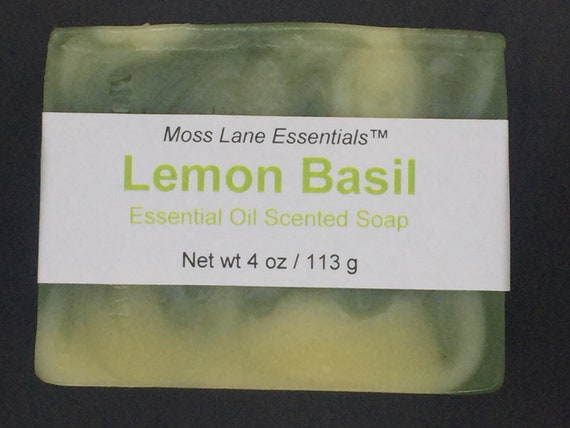 Lemon Basil Essential Oil Scented Cold Process Soap with Shea Butter, 4 oz / 113 g bar
