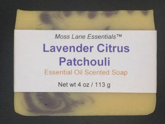 Lavender Citrus Patchouli Essential Oil Scented Cold Process Soap with Shea Butter, 4 oz / 113 g bar
