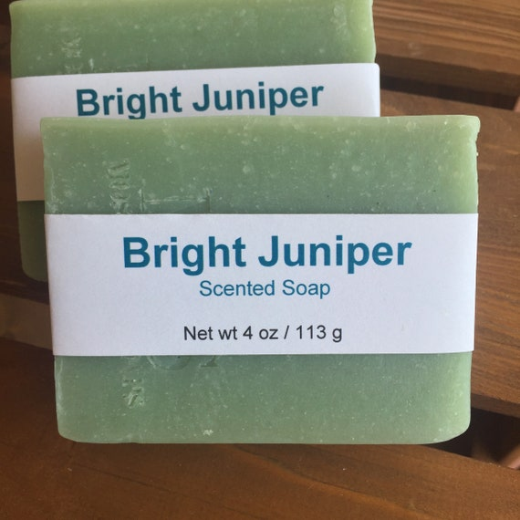 DISCOUNTED--Bright Juniper Scented Cold Process Soap with Shea Butter--Slightly Imperfect