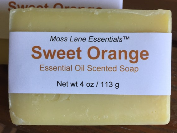 Sweet Orange Essential Oil Scented Cold Process Soap with Shea Butter, 4 oz / 113 g bar