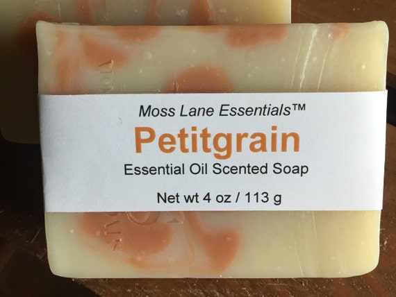 Petitgrain Essential Oil Scented Cold Process Soap with Shea Butter, 4 oz / 113 g bar