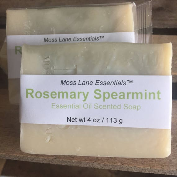 Rosemary and Spearmint Essential Oil Scented Cold Process Soap with Shea Butter