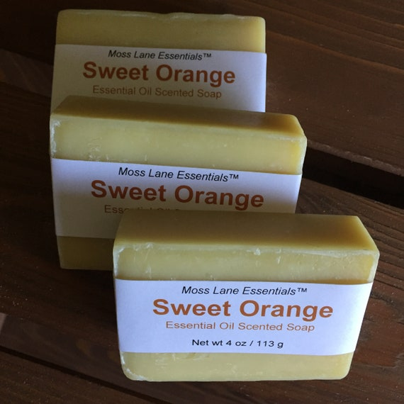 Sweet Orange Essential Oil Scented Cold Process Soap with Shea Butter