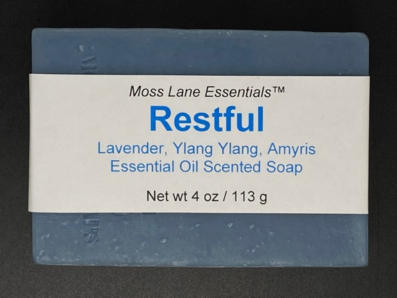 Restful--Lavender, Amyris, Ylang Ylang Essential Oil Scented Cold Process Soap with Shea Butter, 4 oz / 113 g bar