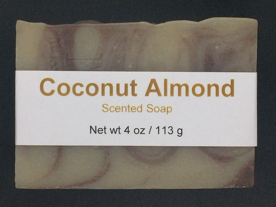 Coconut Almond Scented Cold Process Soap with Shea Butter, 4 oz / 113 g bar