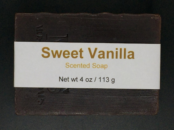 Sweet Vanilla Scented Cold Process Soap with Shea Butter, 4 oz / 113 g bar