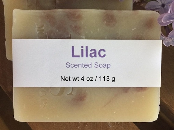 Lilac Scented Cold Process Soap with Shea Butter, 4 oz / 113 g bar