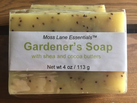 Orange and Lemongrass Essential Oil Scented Cold Process Soap for Gardeners with Shea Butter, 4 oz / 113 g bar