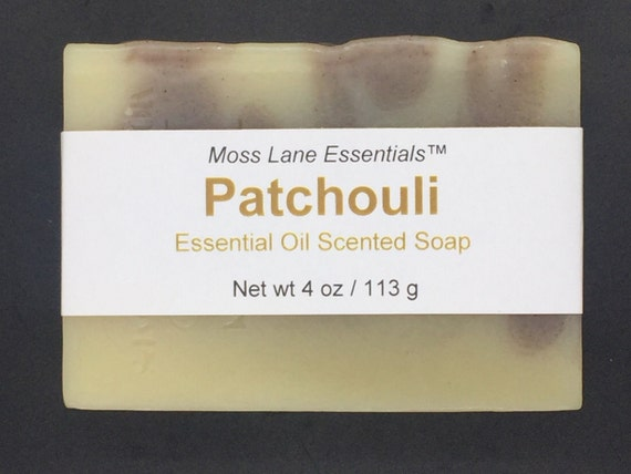 Patchouli Essential Oil Scented Cold Process Soap with Shea Butter, 4 oz / 113 g bar