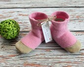 Baby Cashmere Felted Wool Slipper Booties - Made to order 0 - 3 yrs - Upcycled