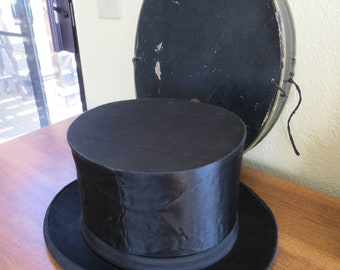 d7eac6cf1b9 Antique French Silk Top Hat or Cylinder Hat from France with Hat Box  Collapsible Hat Opera Hat Mechanical Hat in Box Vve Hubert St Florentin