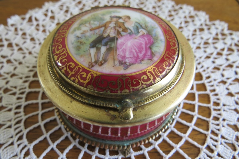 Antique Porcelain Jewelry or Trinket Box from Czechoslovakia Marked in Gold Lettering on Bottom Mirrored Lid with Romantic Scene Pink Gold