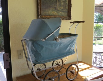 """Vintage Baby Carriage Doll Stroller """"Kozee-Kar"""" Doll Carriage Buggy Pram with Wood Handle Bed Unhooks Lifts off Base Folds Flat Adjustable"""