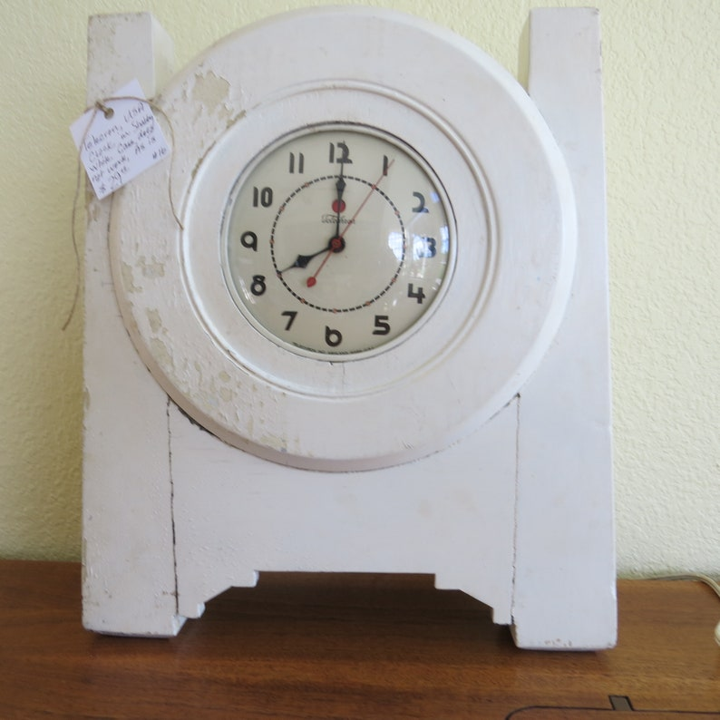 Vintage Telechron Clock Mid Century For Parts And Case Arts And Crafts Mission Chippy White Painted Wooden Case For Mantle Or Tabletop