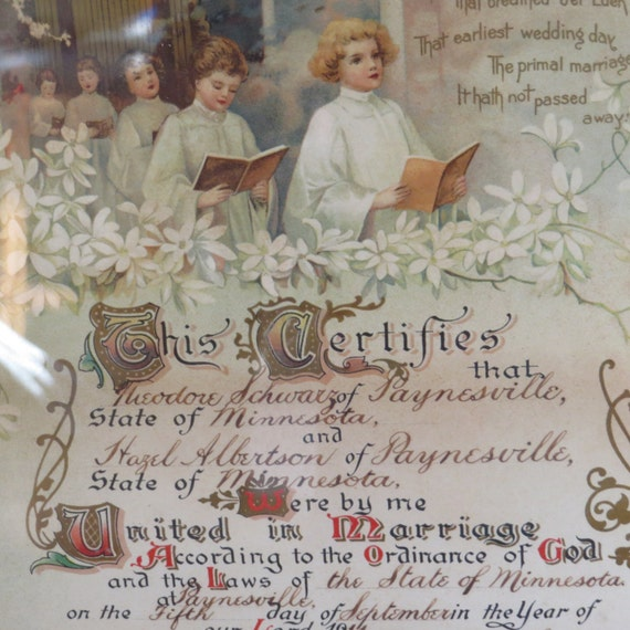 Wedding Gift Tax: Antique Framed Marriage Certificate Wedding Certificate