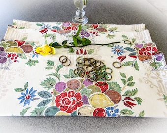 """4 Vintage Curtain Panels. Waverly Fabric """"Braintree"""" with Brass Rings for Hanging on Rod. Fabric Yardage. Backs gently sun-faded."""
