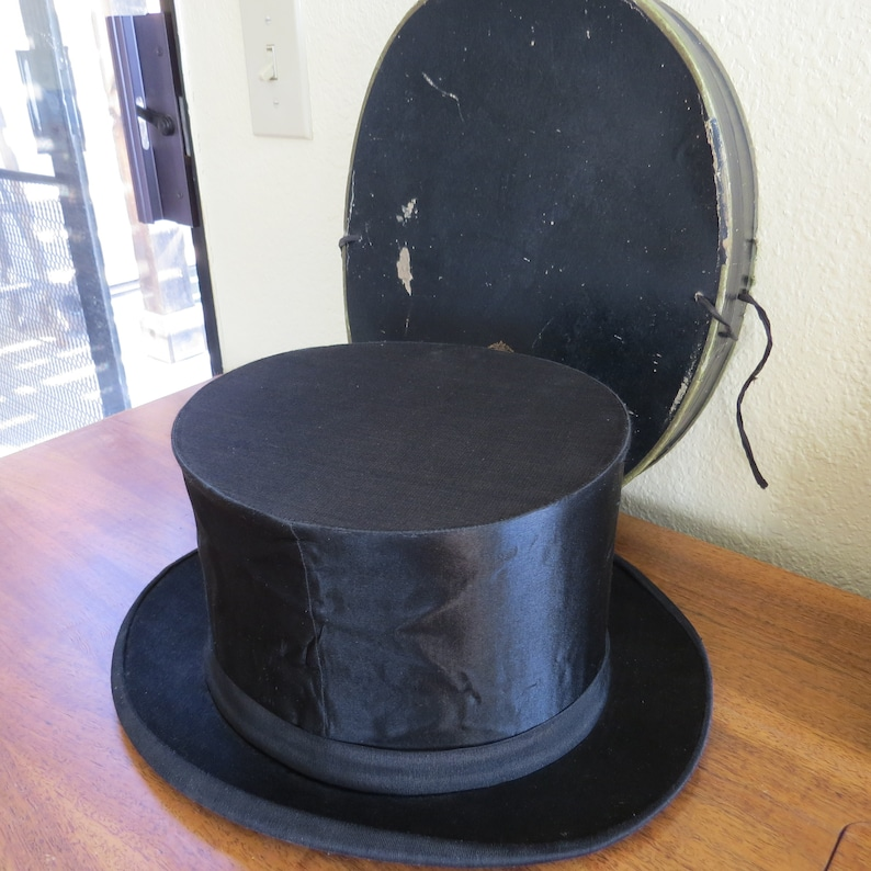 b1770b8c2d18 Antique French Silk Top Hat or Cylinder Hat from France with