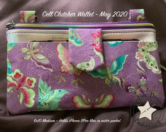 BUNDLE - Cell Clutcher Wallet - In the Hoop Zipper Bags and Wallets - Lined 4 sizes from 5x7 to 6x10 - Crossbody Bag Embroidery