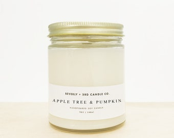 APPLE TREE & PUMPKIN Candle, Wood Wick Candle, Fall Candle, Soy Candle, Pumpkin Scented, Green Apple Scented   Wholesale, Bulk Order