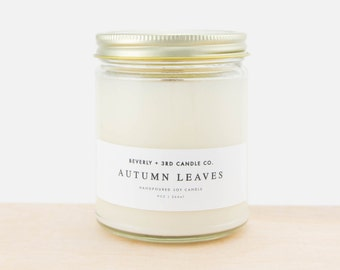 AUTUMN LEAVES Candle, Autumn Candle, Fall Candle, Soy Candle, Wood Wick Candles, Clove Scent, Scented Soy Candle, Glass Jar Candle