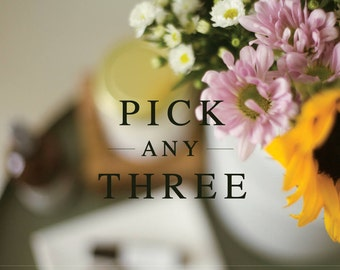 PICK ANY THREE: Candle, Wax Melt, and Air & Linen Mist   Hand Poured, Wood Wick   Soy Wax Melt   Wax Tart   Wax Cube   Room Spray  Gift
