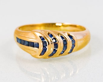 Vintage 14K Yellow Gold Women/'s Tiered Sapphire Ring Sapphires
