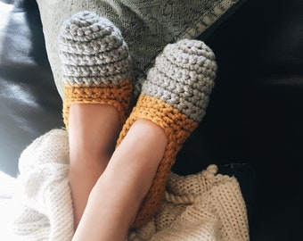 Simplicity Slippers - Women's Crochet Slippers - Crochet Knit Shoes - Two-Toned House Slippers - Gray and Gold