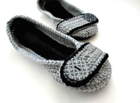 fd940f68f2288 Women's Crochet Slippers - Button slippers - womens sizes - double sole -  black and gray - custom - Christmas in July sale