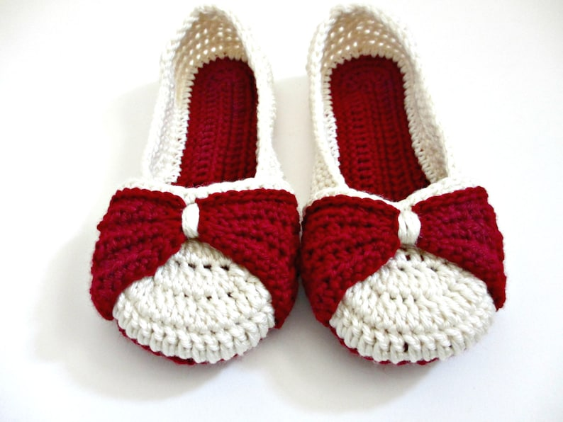 Womens Bow Slippers Crocheted Ballet Flats Custom Etsy