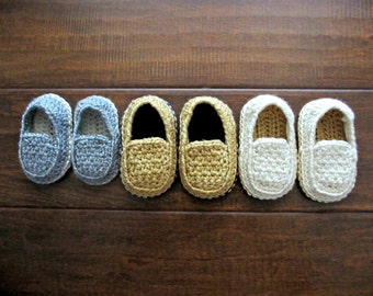 Baby Loafers - Crochet Shoes for Baby Boys - Custom Made Crochet Loafers Tan, Gray, White, Blue