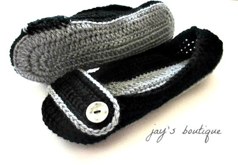 dfb6e18fcfd24 Women's Crochet Slippers - Black and Gray Button Slippers - Womens sizes 4  5 6 7 8 9 10 11