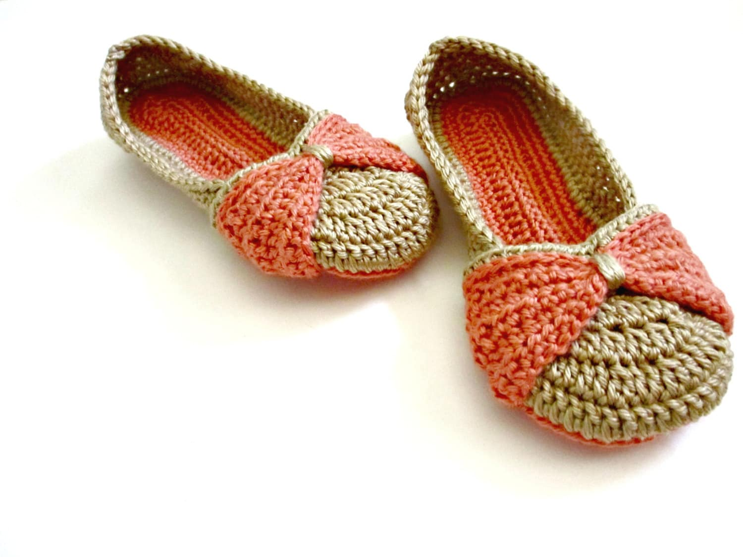Womens Slippers Bow Slippers Double Sole Crocheted Etsy