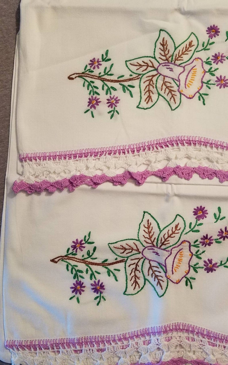Set of Vintage Handmade Embroidered Purple Floral Lace Pillowcases #8