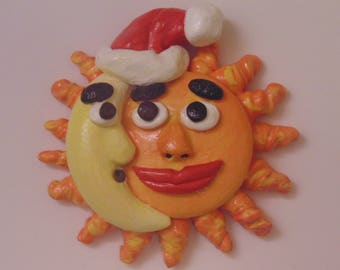 Handmade Sun and Crescent Moon Magnet, Polymer Clay, Waning Moon, Personified, Anthropomorphic, Nightcap, Santa Hat, Eclipse, Yin and Yang