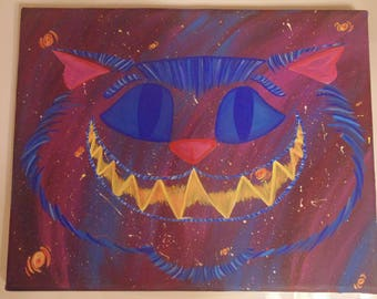 Original Cheshire Cat in Outer Space Painting, OOAK, Alice in Wonderland, Tim Burton, Ready to Hang, 8x10, Stars, Galaxy, One of a Kind