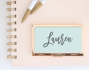 Personalized business card holder etsy more colors gold business card holder reheart Choice Image