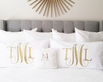 Personalized Monogram Pillow Case - Bedding Pillows, Custom Pillow Covers, Queen and King Size beds, Decorative Accent Pillow Cover