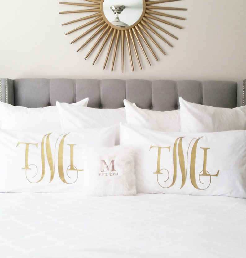 Personalized Monogram Pillow Case Bedding Pillows Custom image 0