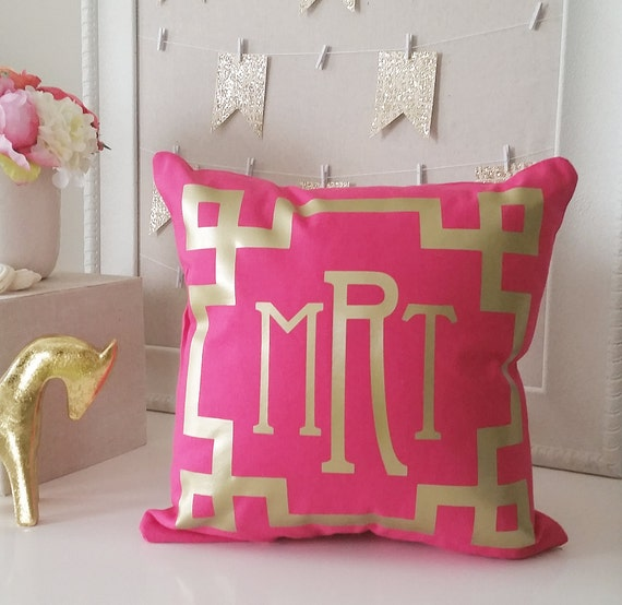 SALE Monogram Throw Pillow Cover Hot Pink Metallic Gold Or Etsy Classy Monogrammed Throw Pillow Covers