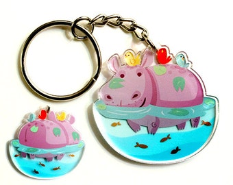 Cute Hippo Keychain, Phone Charm, Hippopotamus, animal lover, african animals, cute accessories, fun keychain, kawaii