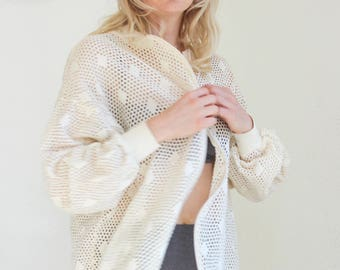 90s perforated jacket eyelet top zip swim coverup cotton lightweight summer bomber white cream lace blouse