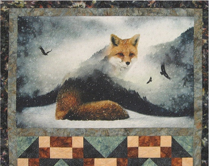 Hoffman Fox and Tracks Call of the Wild Kari Nichols Batik Fabric Quilt Kit 48.5 x 46.5