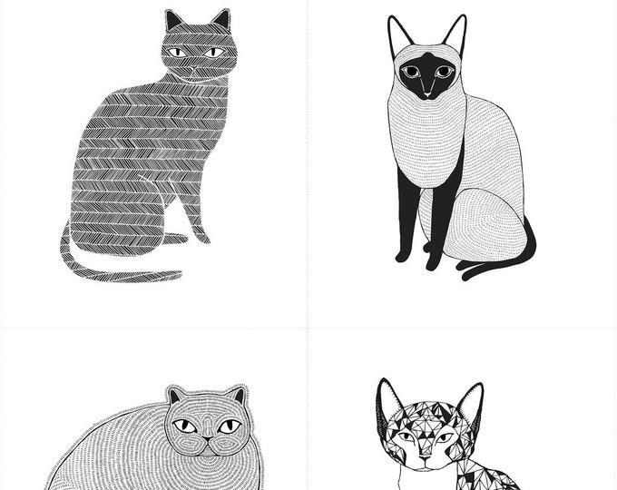 Moda CATNIP Gingiber Cat Kitty Cats Panel White with Black Fabric BTY / BTP 48230-10