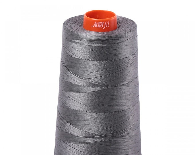 AURIFIL Cone MAKO 50 Wt 5900 Meters 6452 Yds Color 5004 Gray Smoke Quilt Cotton Quilting Thread
