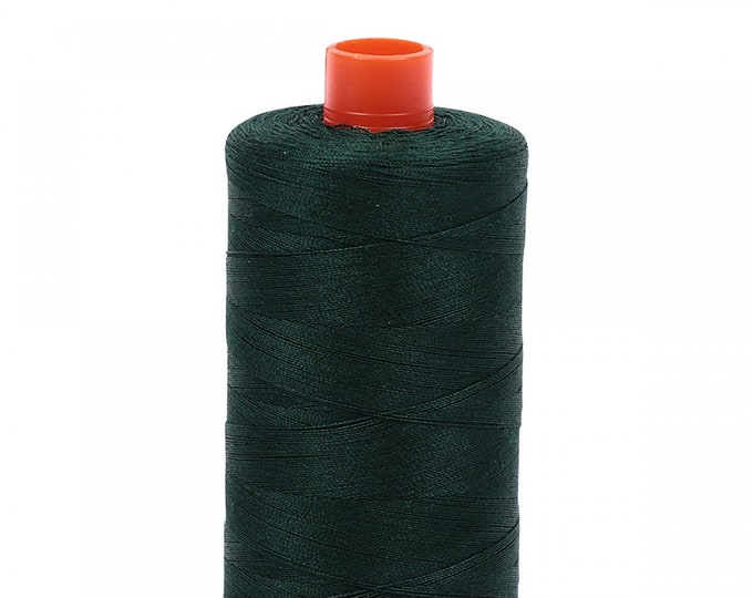 AURIFIL MAKO 50 Wt 1300m 1422y Color 4026 Forest Green Cotton Quilting Thread
